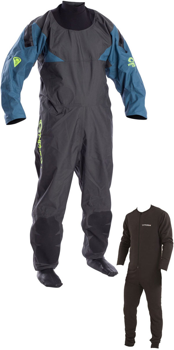 2019 Typhoon Hypercurve 4 Back Zip Drysuit mit Socken & Unterfleece Teal / Grau 100170