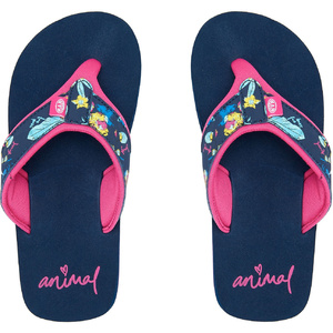 2020 Animal Junior Girls Swish Upper Aop Flip Flops / Sandalen Fm0ss801 - Indigoblau