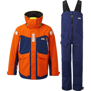 2021 Gill OS2 Mens Offshore Jacket & Trouser Combi Set - Tango / Blue