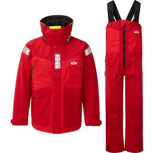 2021 Gill OS2 Mens Offshore Jacket & Trouser Combi Set - Red