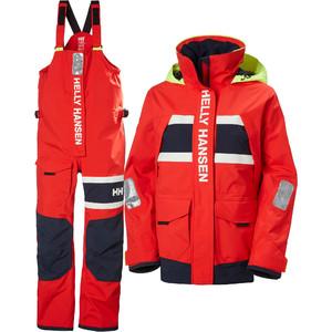 2021 Helly Hansen Kvinders Salt Coastal Jakke & Bukser Combi Sæt - Advarsel Røde