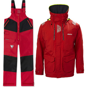 2021 Musto Mens BR2 Offshore Jacket & Trouser Combi Set - Red