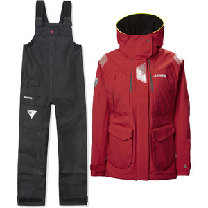 2021 Musto Womens BR2 Offshore Jacket & BR1 Trouser Combi Set - Red / Black