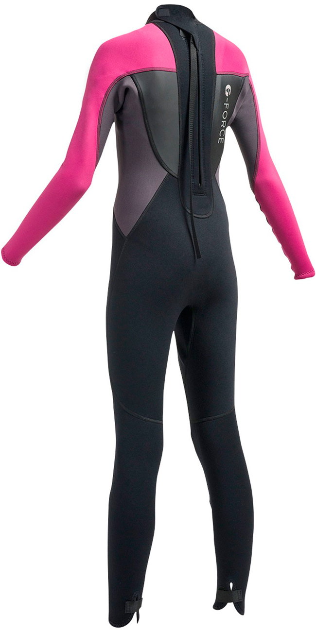 2019 Gul G-force Junior 3mm Flatlock Wetsuit Zwart / Roze GF1308-A9