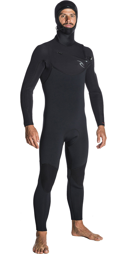 c0fbced2e29 2019 Rip Curl Dawn Patrol 5 / 4mm Hooded Bröst Zip Wetsuit BLACK WSM7SM ...