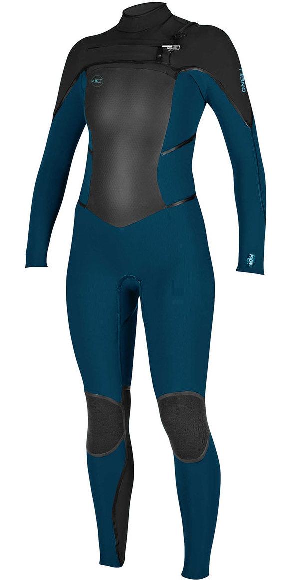 2018 O Neill Ladies Psycho Tech 5 4mm Chest Zip Wetsuit SLATE   BLACK ... b537c9591