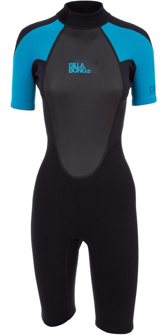 2019 Billabong Womens Launch 2mm Back Zip Shorty Wetsuit Black / Turquoise S42G03