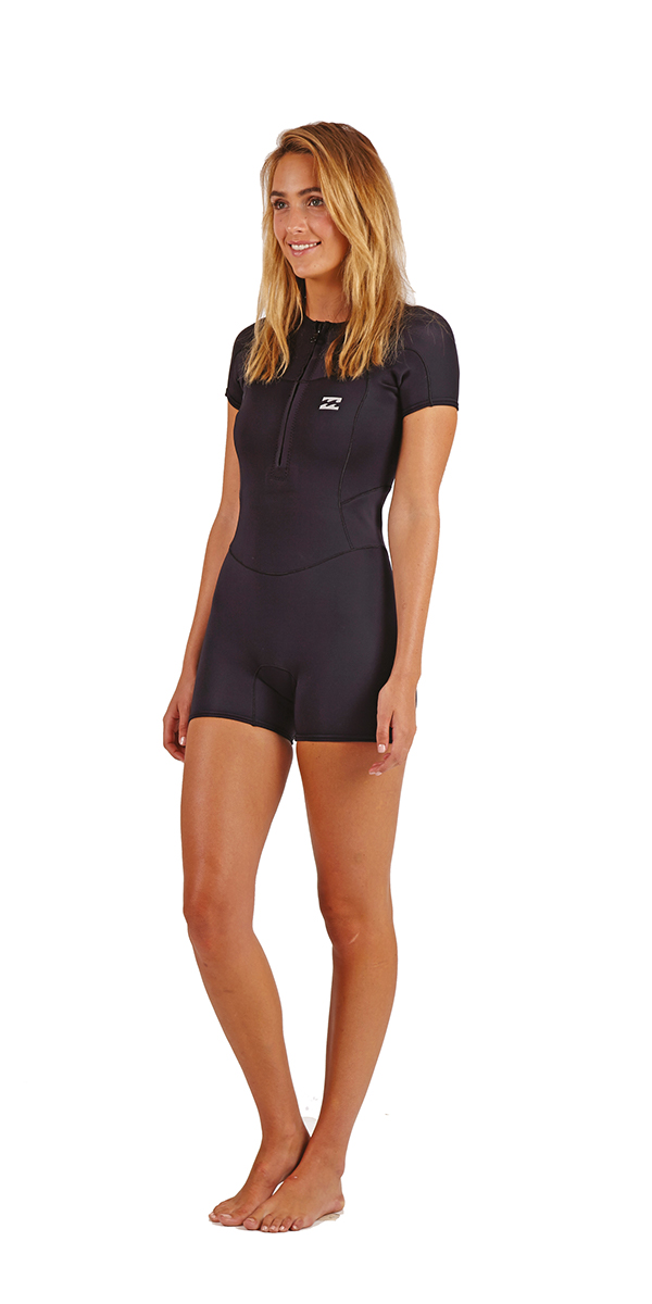 89ae694012 2018 Billabong Ladies Synergy 1mm Short Sleeve Front Zip Spring Shorty  BLACK H41G06 ...