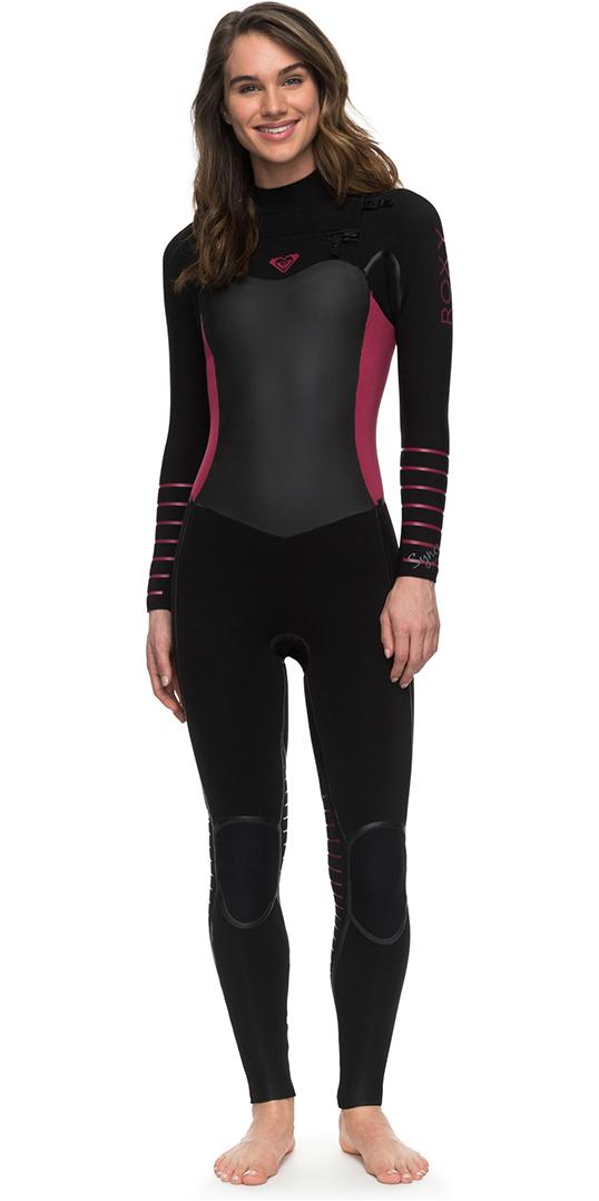 e976fdf374 2018 Roxy Womens Syncro Plus 4/3mm Chest Zip LFS Wetsuit BLACK ERJW103030