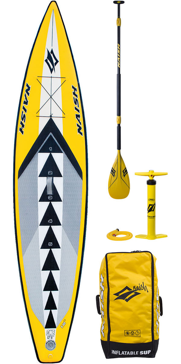 """Naish One Air Inflatable Stand Up Paddle Board 12'6"""" WELCOME TO THE NEXT GENERATION OF INFLATABLE STAND UP PADDLING! The ONE 12'6"""" is hands down, the international best-selling inflatable SUP board for all-around cruising, long-distance touring and N1SCO one design racing. Its sleek outline is 30"""" wide and 6"""" thick for incredible rigidity, stability and speed. It also has an integrated number guide on the deck pad for referencing proper stance position. N1SCO stands for """"Naish International SUP Class Organization"""", which is a one design racing class where all riders compete exclusively on the ONE 12'6"""". N1SCO competitions include sprint, intermediate-distance and long-distance racing, as well as team relays that are accessible for any level rider. They are competitive, fun events that are easy to follow, thrilling to watch and a great social experience for the whole family. SPECIFICATIONS LENGTH 12'6"""" / 381 cm WIDTH 30"""" / 76.2 cm THICKNESS 6"""" / 15.2 cm WEIGHT 23.8 lbs / 10.8 kg VOLUME"""