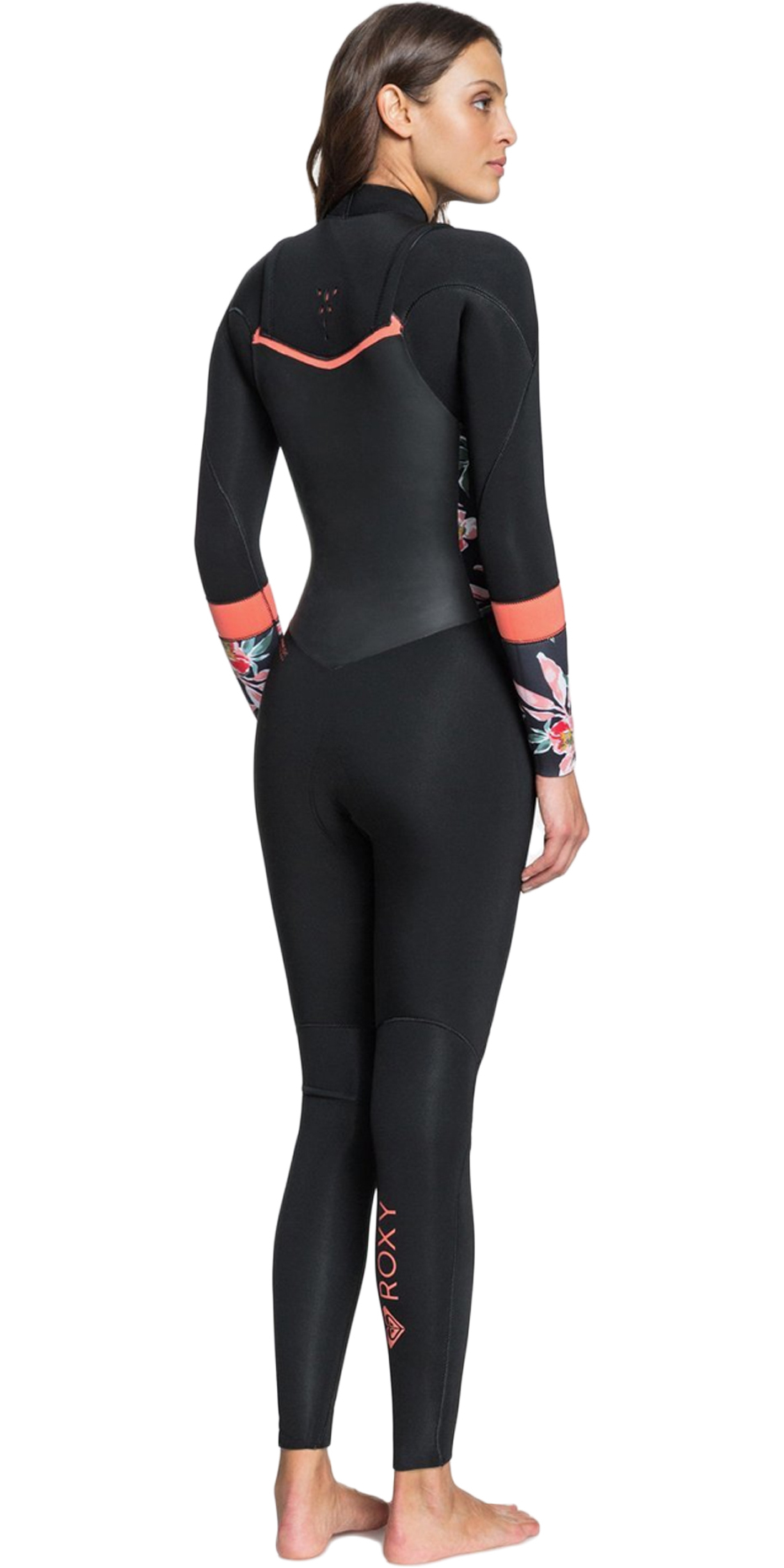 Roxy Womens Syncro 4//3mm Back Zip Wetsuit Thermal Warm Heat Layer Layers Easy Stretch Lightweight Black Bright Coral