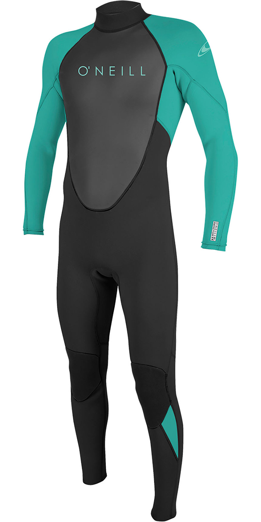 2019 O'Neill Youth Reactor II 3 / 2mm Tilbage Zip Wetsuit Black / Aqua 5044
