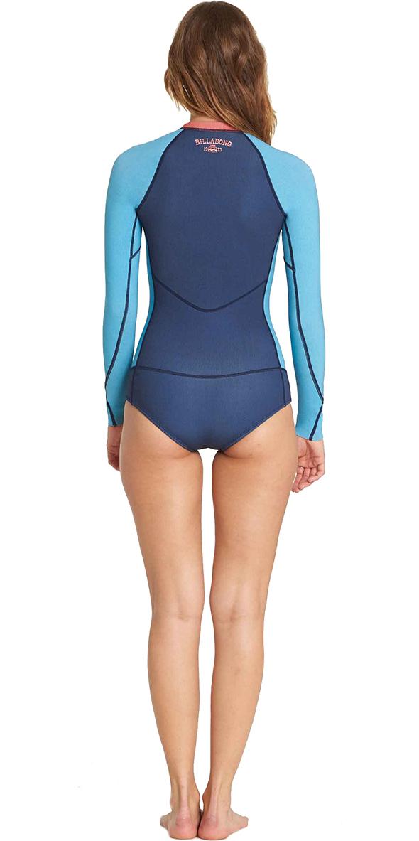 2018 Billabong Femmes Salty Dayz Manches Longues 2mm Printemps Wetsuit Plage Bleu L42G02