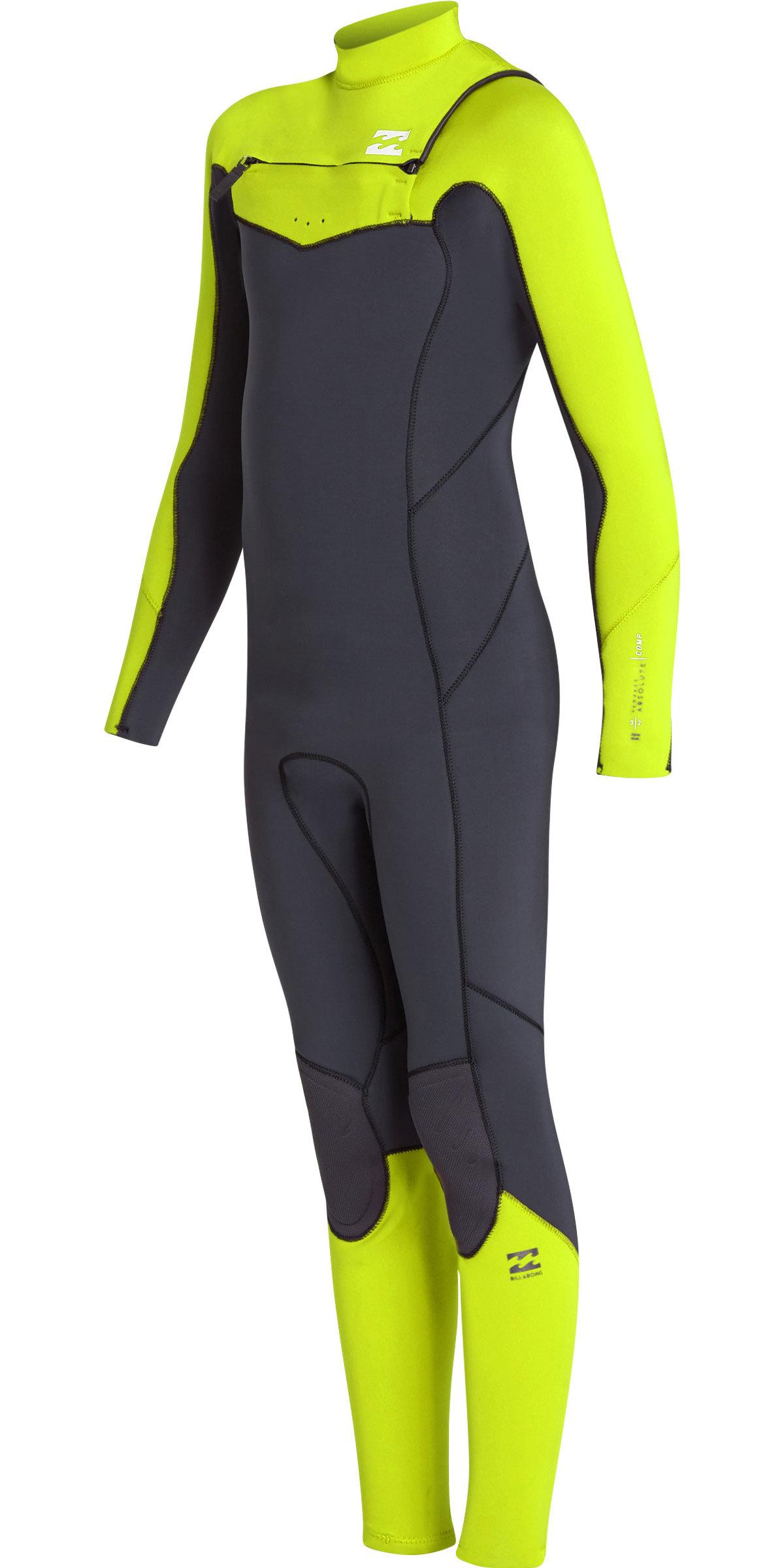 2019 Billabong Junioren Furnace Absolute 4/3mm Chest Zip Anzug Neongelb N44b03