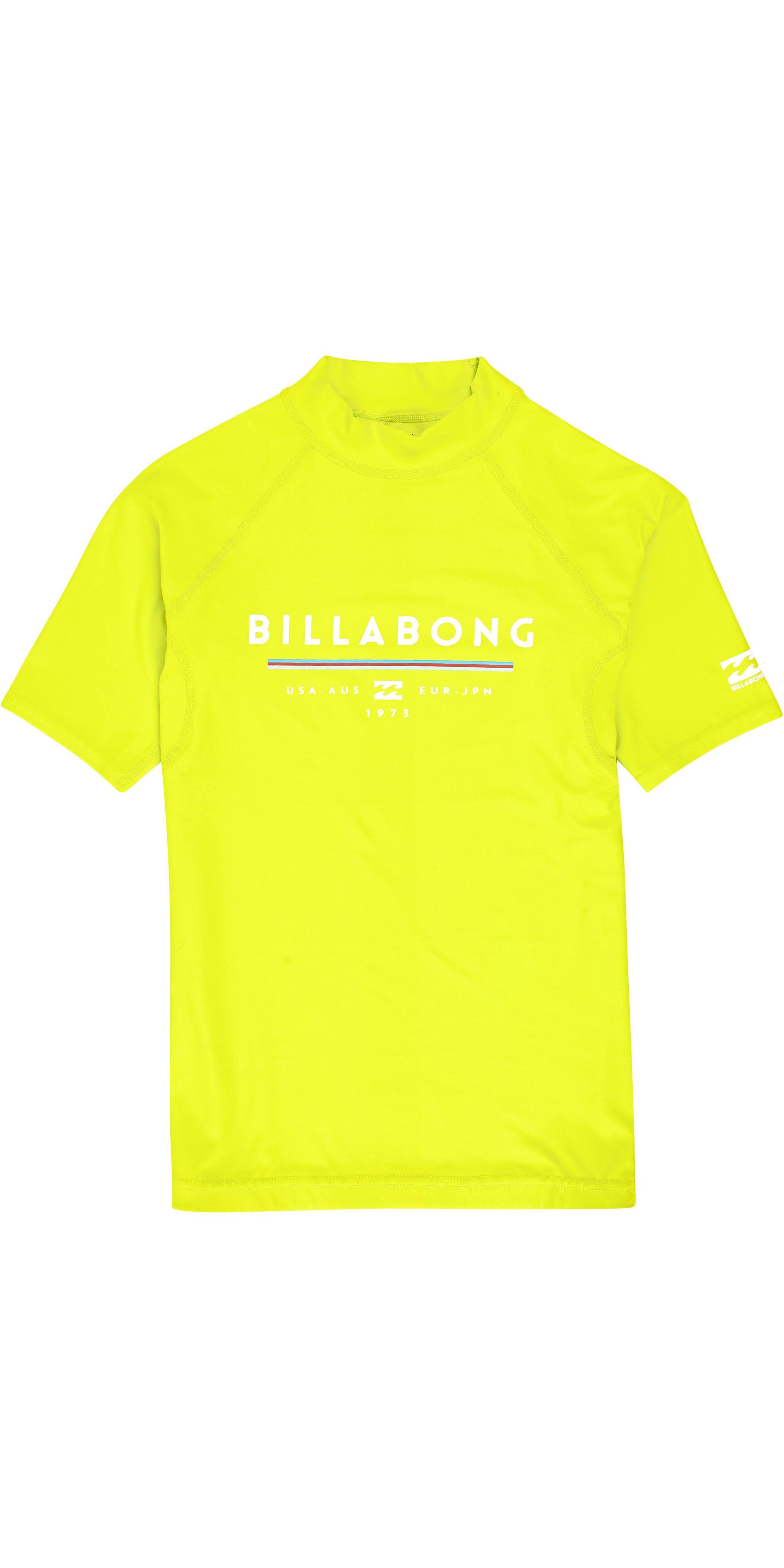 BILLABONG Junior Boys Unity Manica Corta Rash Vest Top Rosso Completa Il Tuo Kit da Surf Performance con Unity Rashguard
