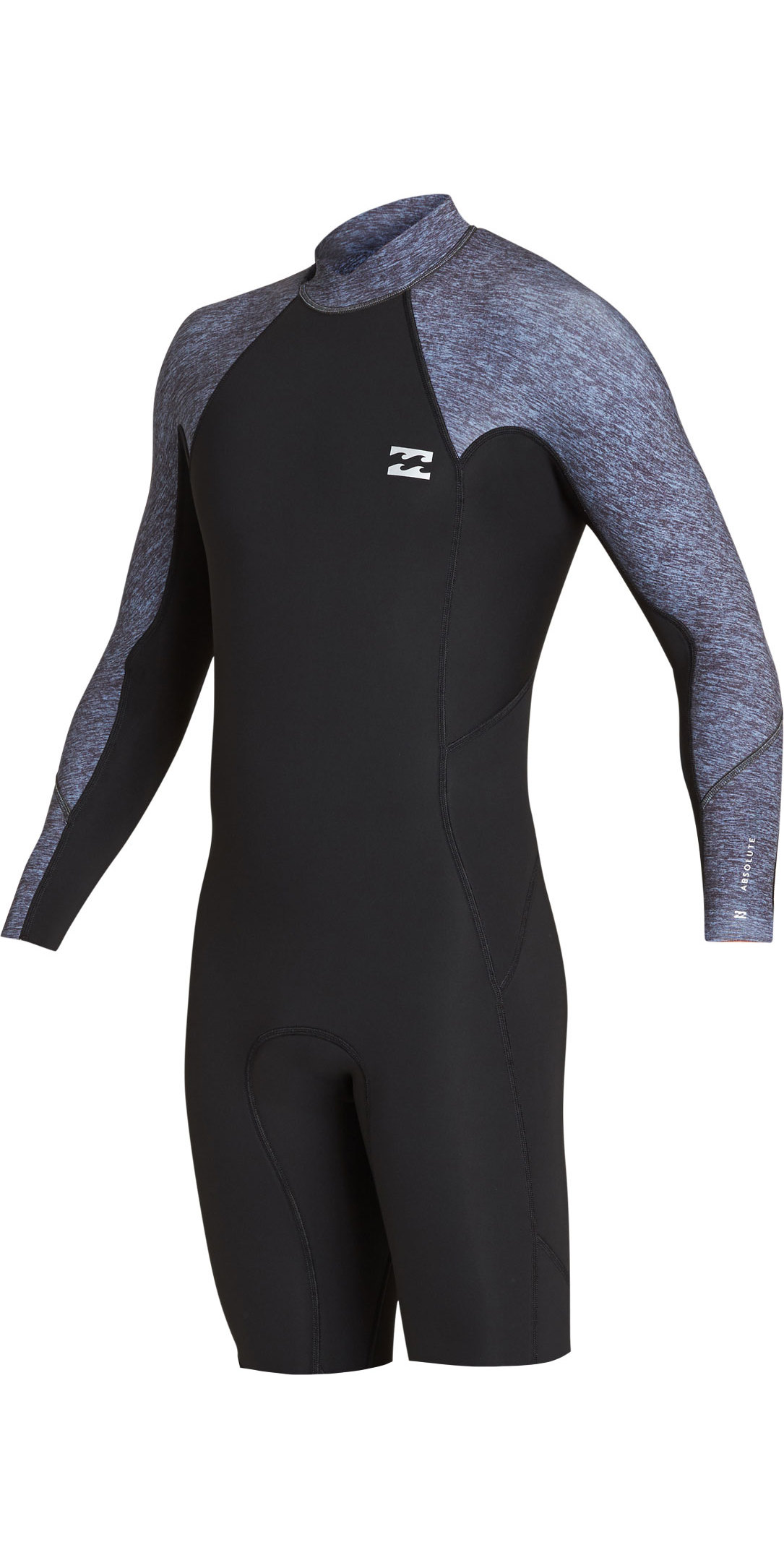 3e1edeb2e0 2019 Billabong Mens 2mm Absolute Long Sleeve GBS Back Zip Shorty Wetsuit  Grey Heather N42M21