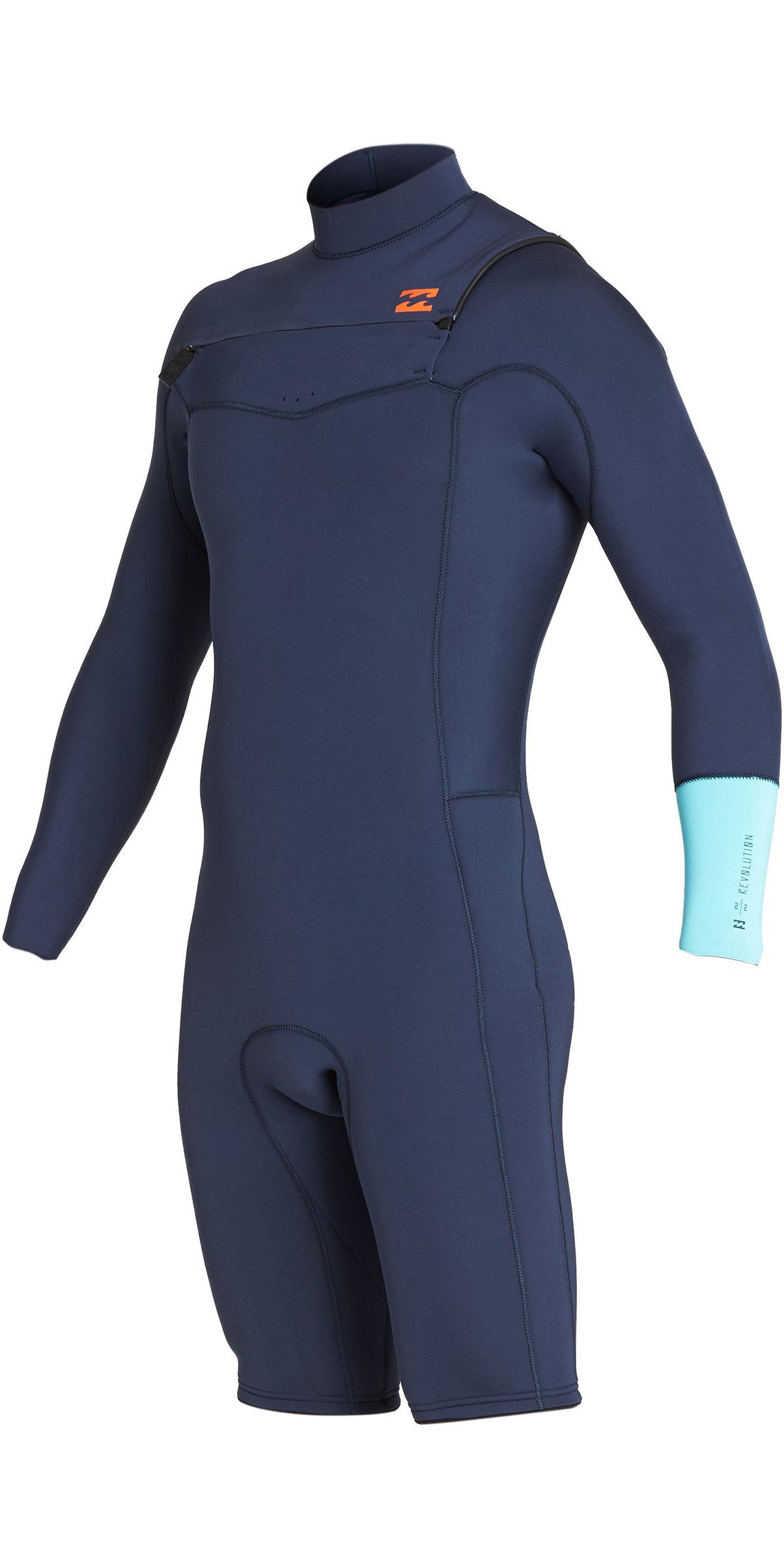 2019 Billabong Mens 2mm Furnace Revolution Long Sleeve Chest Zip Shorty  Wetsuit Cyan N42M09 ... 9cdafc06c1e1