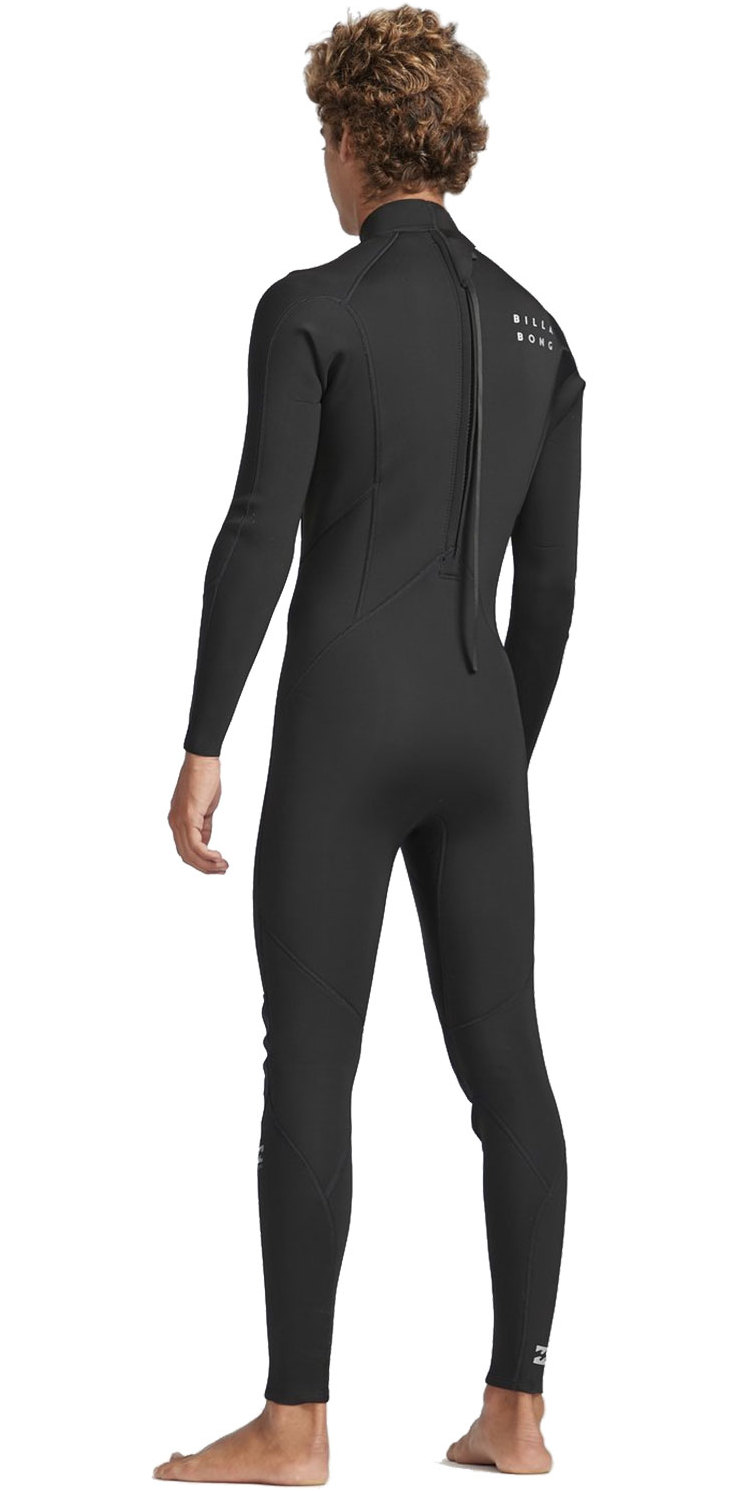 2019 Billabong Mens 3/2mm Absolute Back Zip Flatlock Wetsuit Black / Silver N43M33