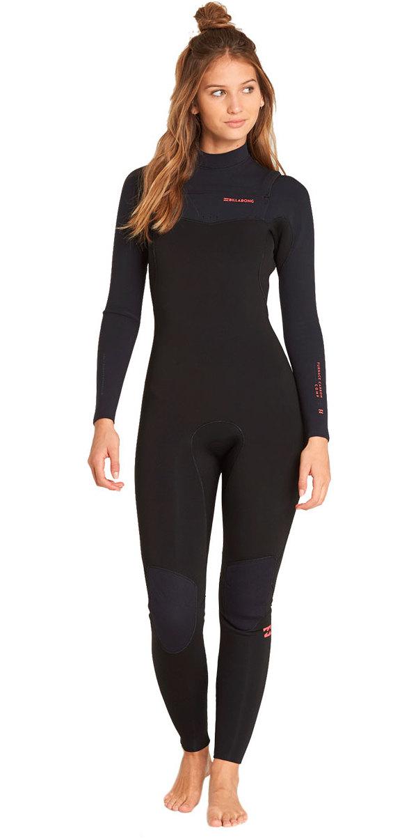 2112c276839280 Billabong Womens Furnace Carbon Comp 4 / 3mm Borst Zip Wetsuit Zwart L44G02  ...