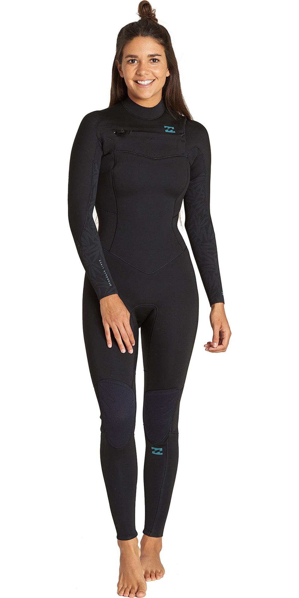 2019 Billabong Mujer Furnace Synergy 4/3mm Traje De Neopreno Con Chest Zip Negro Q44g32
