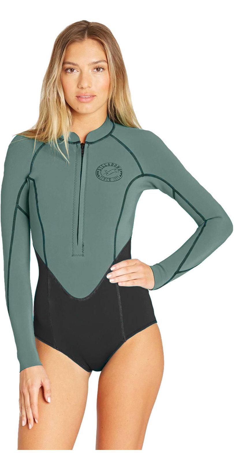 Flatlock stitch construction BILLABONG Womens Salty Dayz 2mm Front Zip Long Sleeve Shorty Wetsuit Tropical