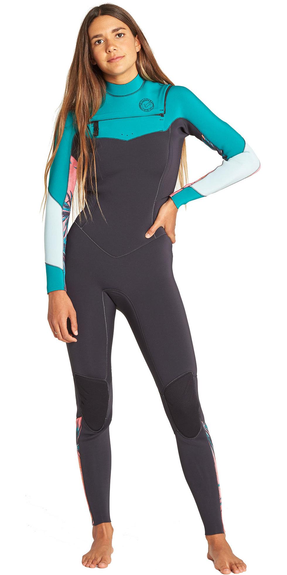2019 Billabong Womens Salty Dayz 3 2mm Chest Zip Wetsuit Palm Green N43G30  ... 47f29f347