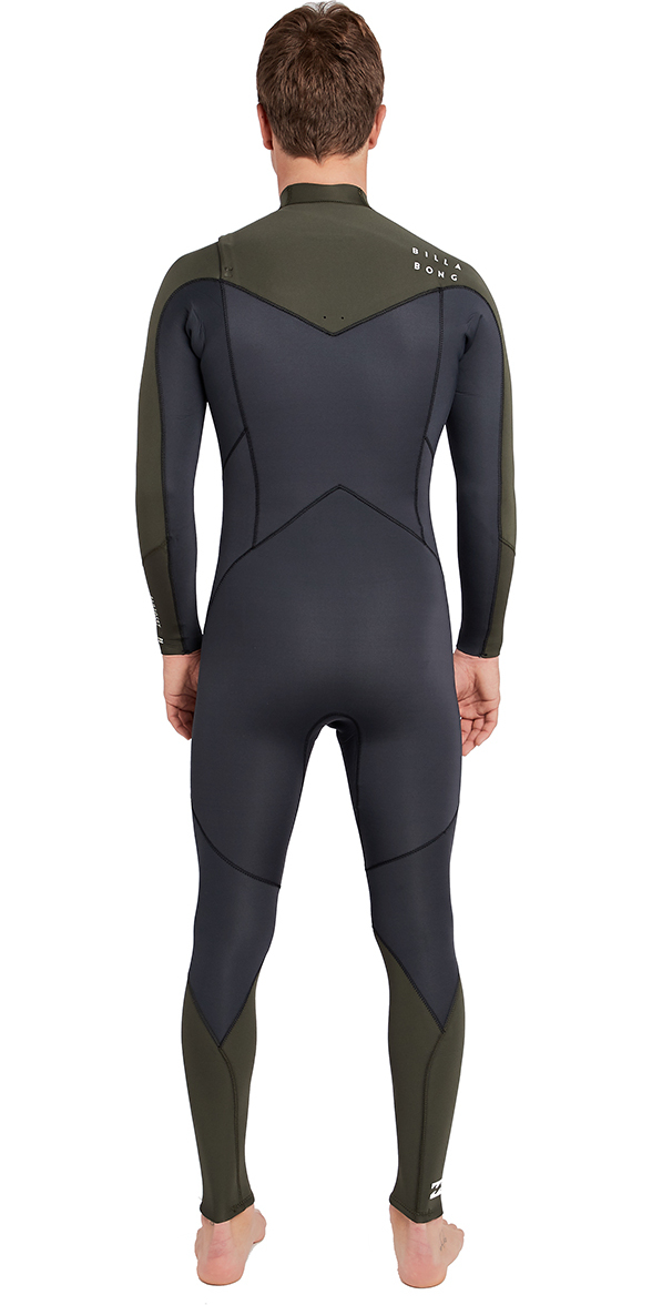 2019 Billabong Furnace Masculino Absolute 4/3mm Chest Zip Wetsuit Olive Escuro L44m09