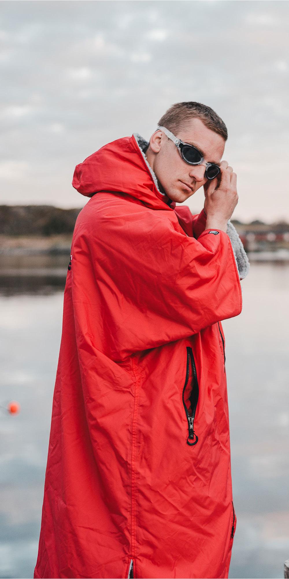 2019 Dryrobe Short Dryrobe Premium Outdoor Robe / Poncho Dr100 Rojo / Gris