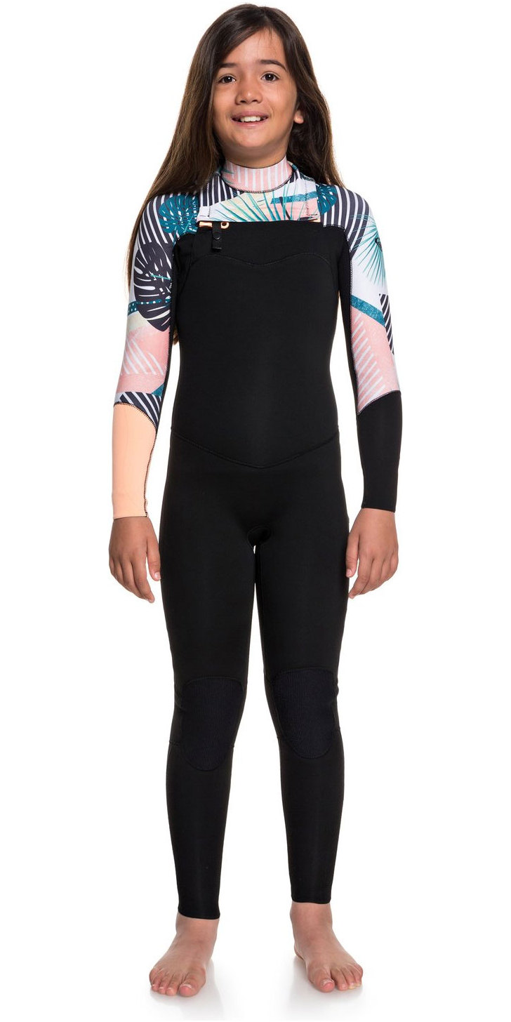 5b008e210aa 2019 Roxy Girls 3   2mm Pop Surf Frente Zip Wetsuit Negro ERGW103029 ...