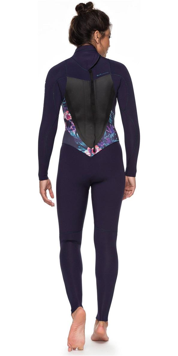 Roxy Dames Syncro 4/3mm Wetsuit Met Back Zip Blauw Lint Erjw103027