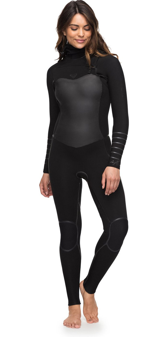 2018 Roxy Womens Syncro+ 5 4 3mm Hooded Chest Zip Wetsuit Black ERJW203002  ... 15ceb04fe