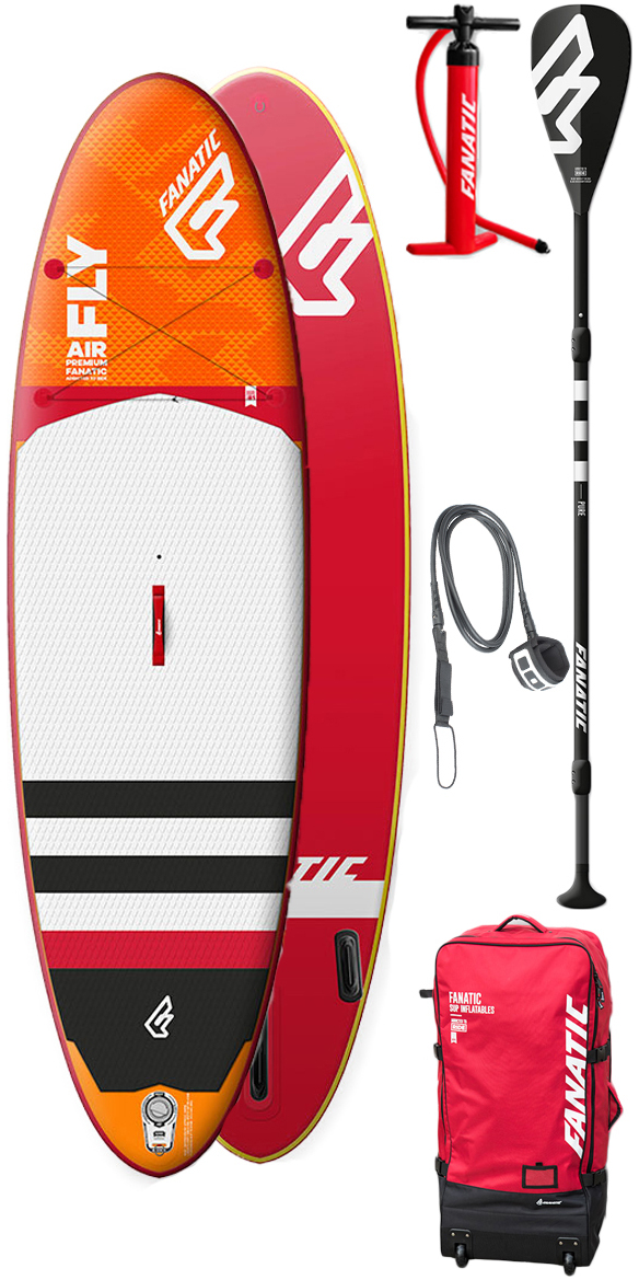 """Fanatic Fly Air Premium SUP 10'4"""" X 33"""" The Fly Air is the ultimate toy that everyone can enjoy. Easy to carry, strong, stiff and durable, our neatly packed Fly Airs inflate into four finely tuned shapes for flat water fun and small surf action. Inspired by our popular Fly composite range, the Fly Air is the convenient answer to limited storage, city life and travellers' demands. The all-round, Longboard style outline offers a great mix of glide, stability and all terrain versatility. Optimized thickness provides outstanding rigidity without additional air pressure, whilst the extra volume caters to those looking for an even easier ride. Additional Side fins supply extra grip when catching little waves. To outline our leading standards in terms of quality, design and durability, we offer two constructions; our lightweight Stringer technology and Premium construction with Double Layer Light technology/additional third layer rail bands. This is the best inflatable constr"""