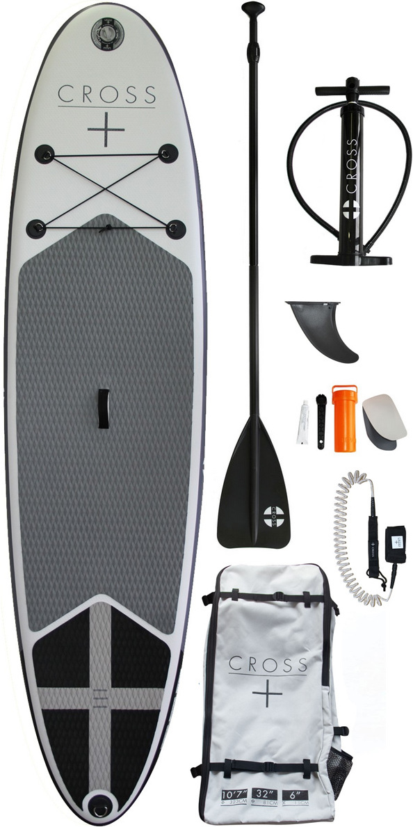 """Gul Cross 10'7 Inflatable SUP Board Package A stable and easy to handle generously sized inflatable Stand Up Paddle (SUP) board by Cross Surfboards. Features impact-resistant glued drop-stitch PVC construction with double layered rails. Anti-slip grooved signature Cross foam deck for comfort and grip. 9KG - easy to carry to the water for launching, or transporting in a rucksack. Fin setup: 2 molded fins, plus another for the fin box. Overview: Inflatable (SUP) stable and easy to handle Designed for calm conditions and small surfing. Fin set up 2 plus one fin box Double layered rails Anti-slip grooved signature Cross foam 9KG for easy carrying and transporting Supplied with two side fins & Longboard fin Length: 10'7 Width: 32"""" Thickness: 6"""" Whats in the box? 1x SUP board 1x 3 piece Co alloy paddle 1x Coil Leash with key pocket 1x Single action pump 1x Repair kit 1x Cross backpack"""