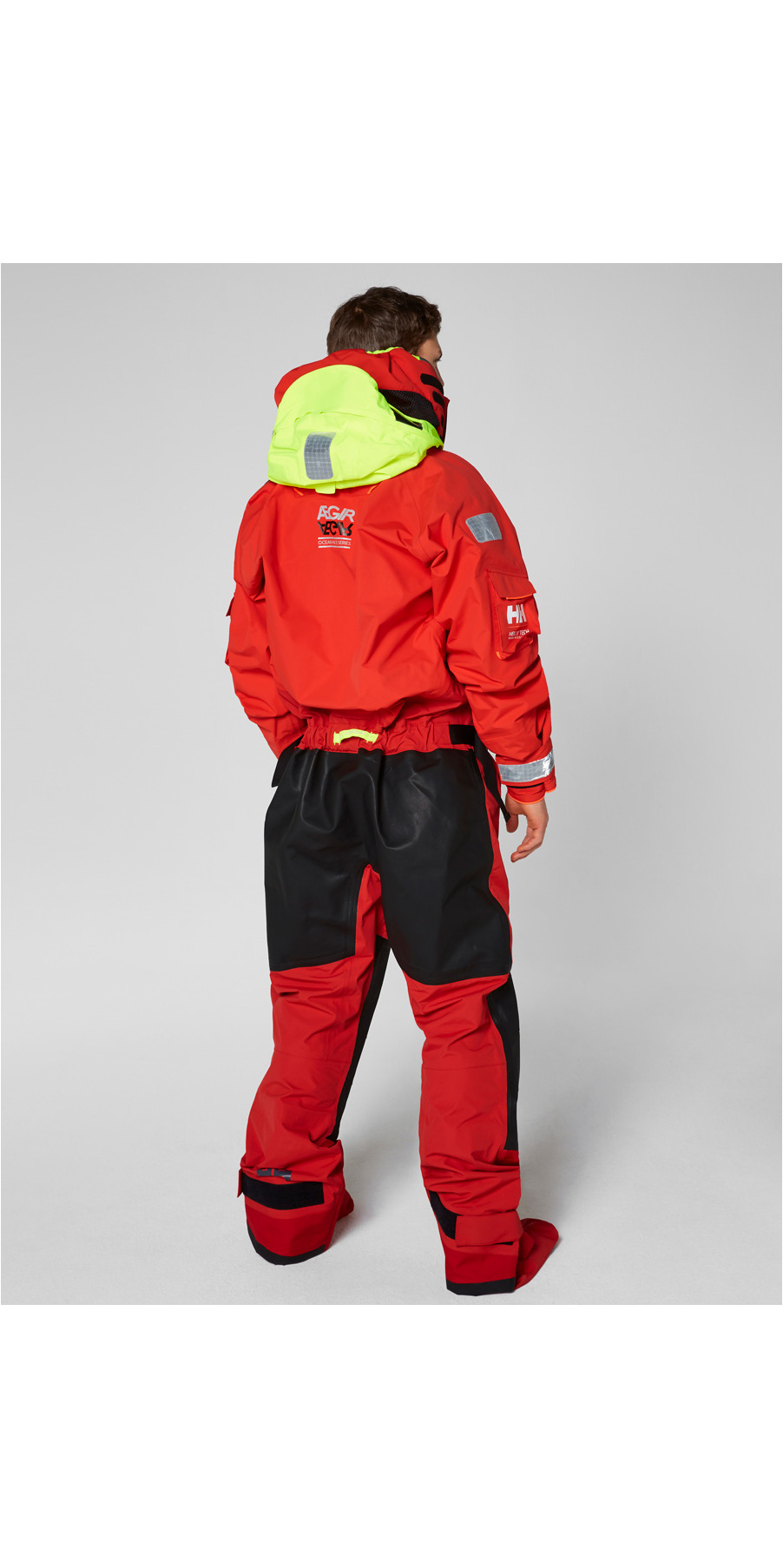 2018 Helly Hansen Aegir Ocean Survival Drysuit Alert Red 31706
