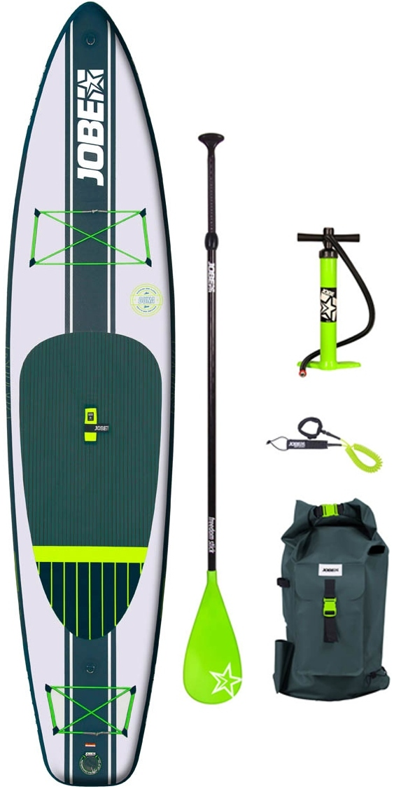Paddling is about getting close to nature. The nature-inspired Duna 11.6 is a true tour lovers favourite. Live a travelers-life and cruise at fast pace through magnificent environments. Its popular for its maneuverability, speed and sporty vibe. Yarra is manufactured using industry leading techniques like our innovative drop stitch technology. Choose a paddleboard wisely and think long-term: we'd love to show you why a Jobe-board feels like pure freedom. Durable Duna comes with a bungee storage net to stow your luggage under and is equipped with a supreme luxurious neoprene-wrapped grab handle and paddle holders. Ride a Jobe paddle board bare-feet or with water shoes, standing on the Duna's catchy green, super soft and luxurious EVA foam pad. All Jobe's inflatable boards come in a full & favourable package, including a waterproof backpack with front pockets, an fiberglass paddle, a repair kit, a transparent leash and a shiny high-quality fin. Easy to inflate & deflate, with a Jobe inf