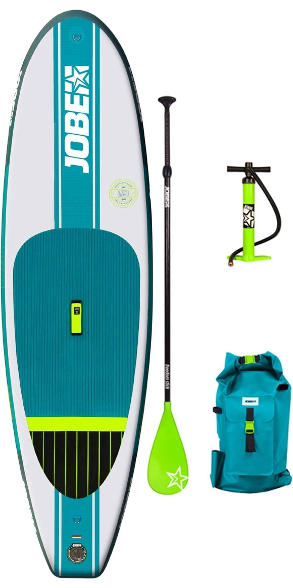 The Lika 9.4 is the lightest board of our range and a true children's and smaller' persons favourite. With the ability to carry up till an advised 60 kilos, its a super manoeuvrable board for smaller body types. Lika is manufactured with years of experience and industry leading techniques like our innovative drop stitch technology. Choose a paddleboard wisely and think long-term: we'd love to show you why. Durable Lika comes with a bungee storage net to stow your luggage under and is equipped with a supreme luxurious neoprene-wrapped grab handle and paddle holders. Small Lika comes with a bungee cord to stow your luggage under and is equipped with a supreme comfortable neoprene-wrapped grab handle. Ride a Jobe paddle board bare-feet or with water shoes, standing on the Yarra's royal blue, super soft EVA foam pad. Choose a paddleboard wisely and think long-term: we'd love to show you why paddling with a Jobe-board feels like pure luxury and freedom on the water. All Jobe's inflatable b