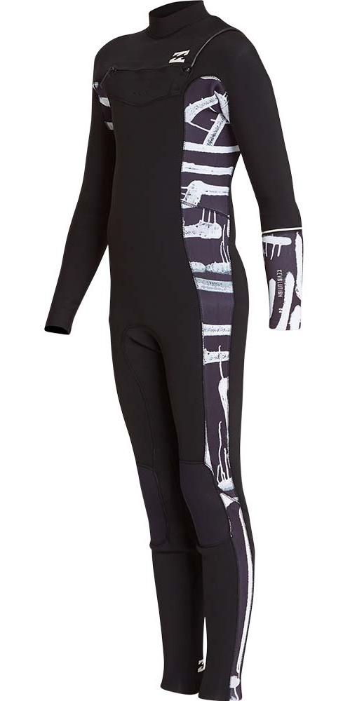 Billabong Junior Furnace Revolution 5 / 4mm Bryst Zip Wetsuit Black Print L45B04