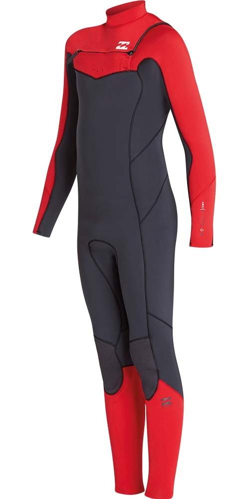 2019 Billabong Junior Furnace Absoluut 5 / 4mm Borst Zip Wetsuit Rood L45B05