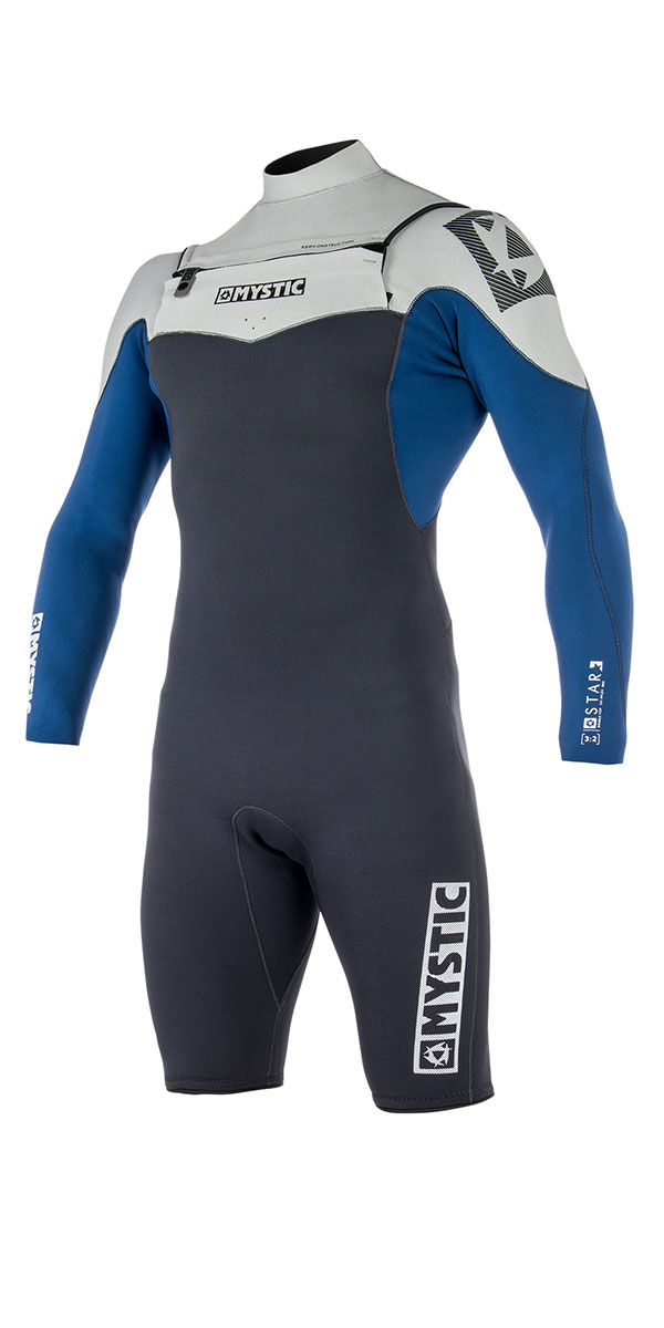 2019 Mystic Star 3 2mm Chest Zip Long Arm Shorty Wetsuit Navy 180048 ... 872f3e419