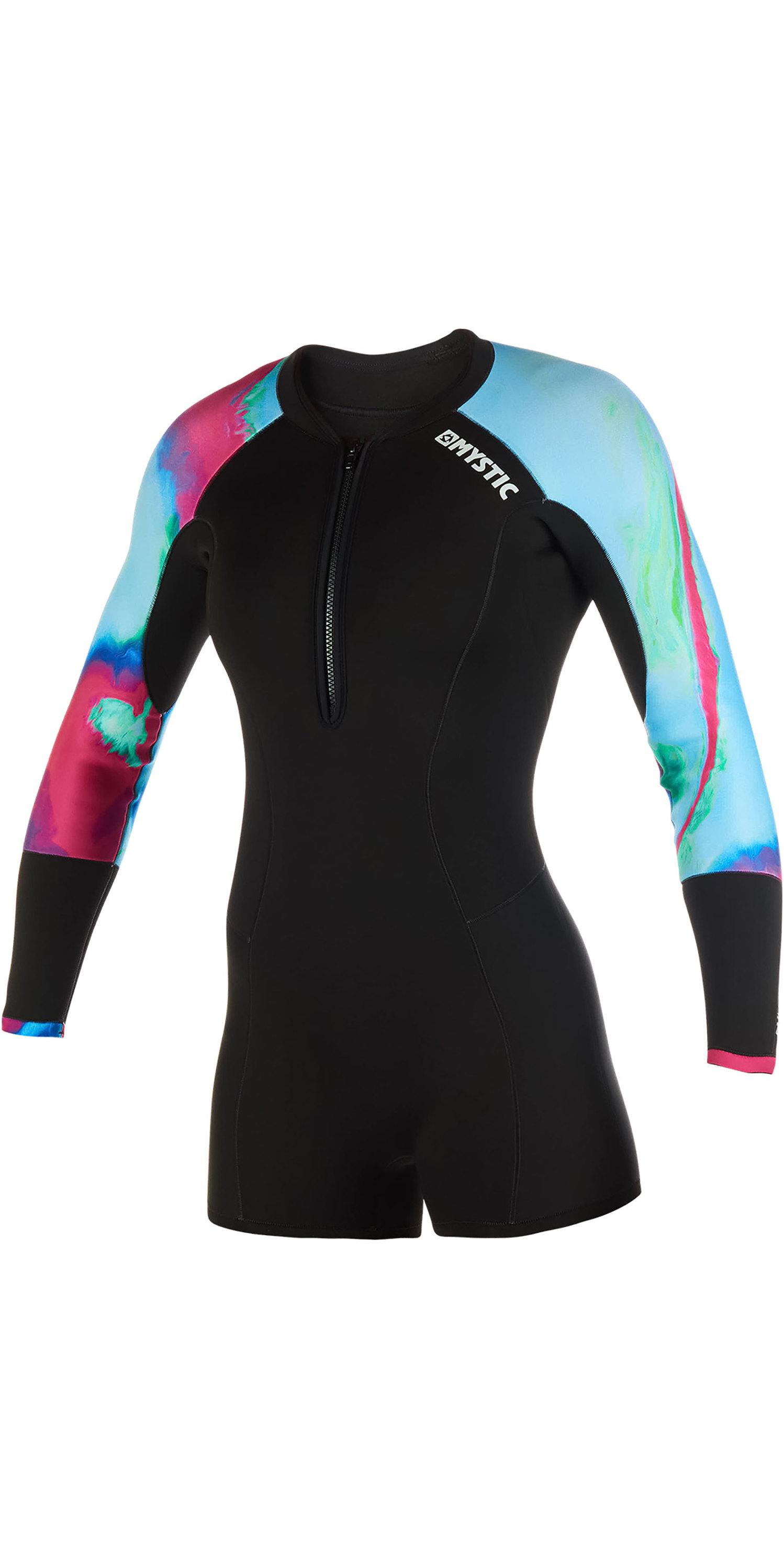 1cf552a86 2019 Mystic Womens Diva 2mm Front Zip Long Arm Shorty Wetsuit Aurora 190177