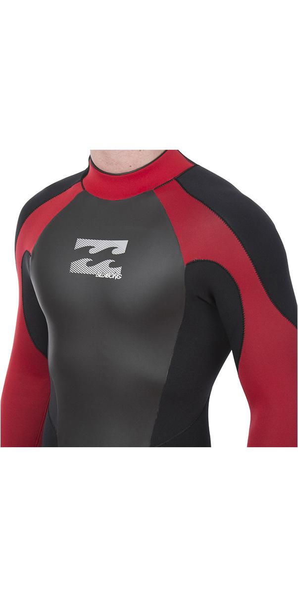 2019 Billabong Mens Intruder 3/2mm GBS Back Zip Wetsuit Black / Red L43M51