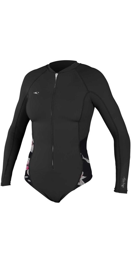 2018 O Neill Womens Front Zip Long Sleeve Rash Surf Traje NEGRO   FLOR  5061S ... 790146895a0
