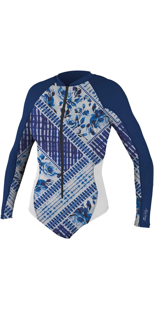 2018 O Neill Womens Front Zip Long Sleeve Traje de Surf Rash INDIGO PATCH  ... 94e0415734b