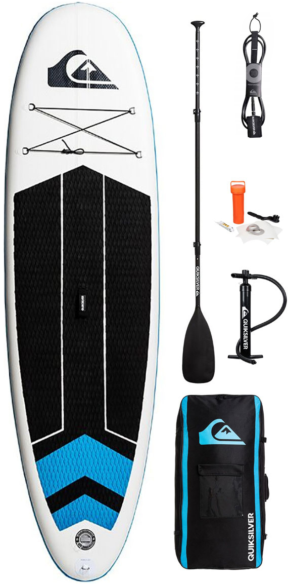 """Quiksilver ISUP 10'6 Inflatable Stand Up Paddle Board The QS iSUP 10'6"""" is Quiksilvers' inflatable SUP model. It comes with a three piece paddle, ultralight pump, repair kit and a backpack bag. It takes 5 minutes to inflate and around 7 minutes to deflate. Inside the bag you find the manual of instructions with all the details for easy use. Dimensions: Length: 10'6 Width: 32cm / 6in Volume: 310L The nuts and bolts: 10'6 inflatable stand up paddle board Three piece paddle Ultralight pump Repair kit Backpack carry bag Takes 5 minutes to inflate and 7 minutes to deflate Instruction manual provided FREE Leash"""