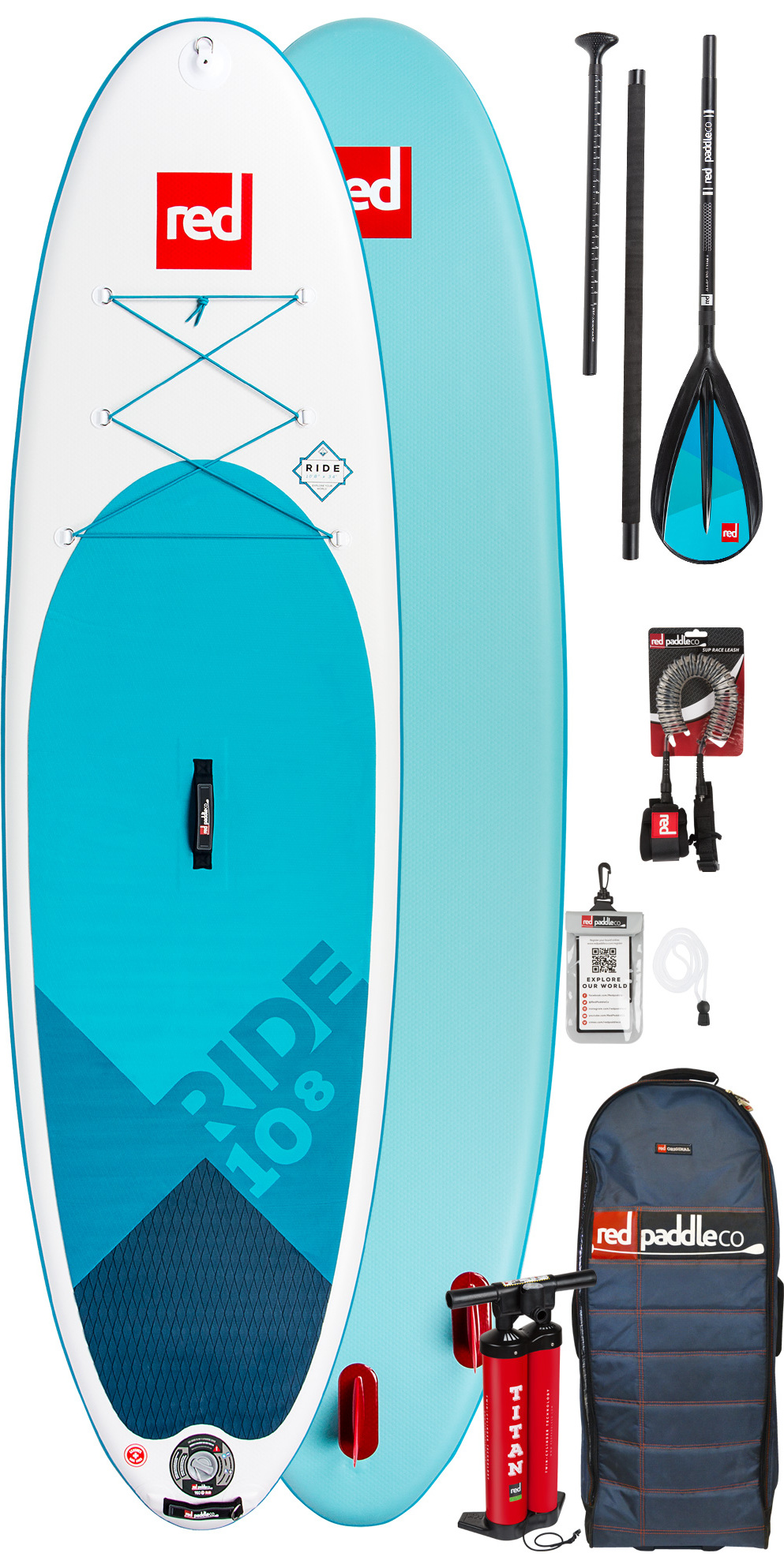 2019 Red Paddle Co Ride 10'8 Stand Up Paddle Board Gonflable - Paquet De Pagaie En Alliage