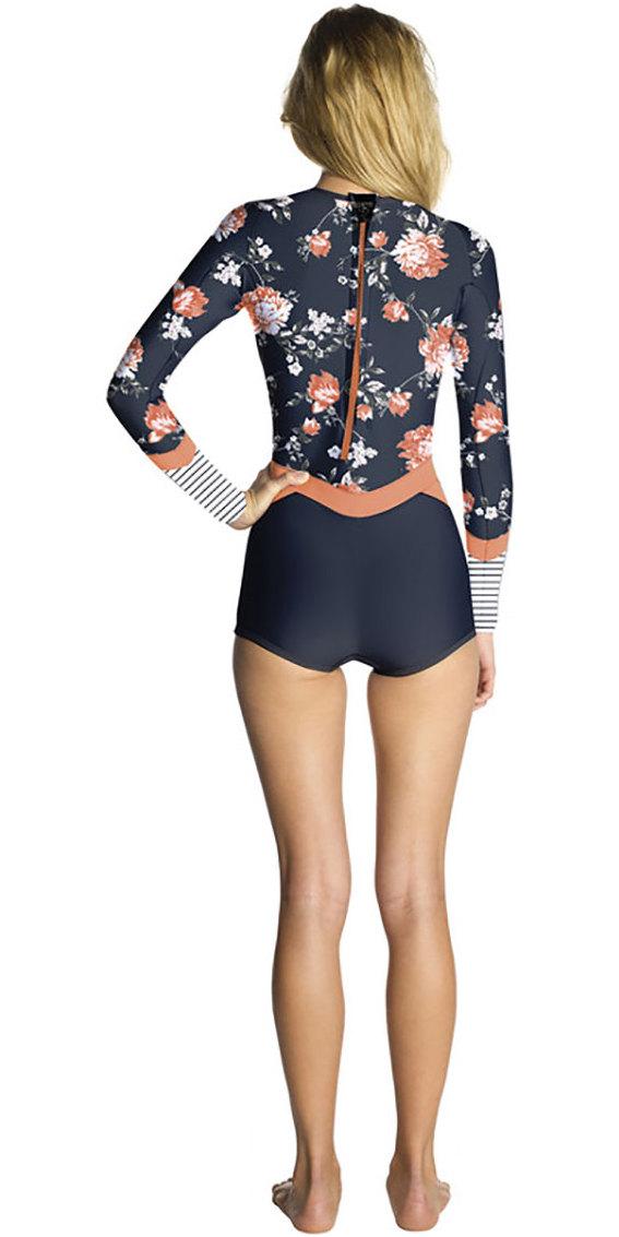 2018 Rip Curl Womens Madi 1mm Long Sleeve Boyleg Shorty Wetsuit Navy WSP7CW