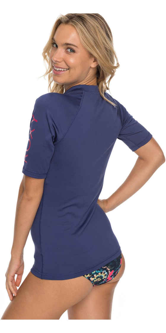 f7a1f226d5 2018 Roxy Womens Wholehearted Short Sleeve Rash Vest DEEP COBALT ERJWR03219  ...