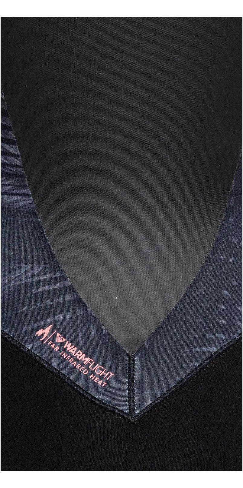 2019 Roxy Frauen Syncro 4/3mm Chest Zip Anzug Schwarz / Rotguss Erjw103022