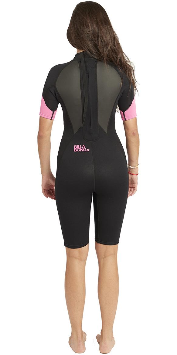 2019 Billabong Womens Launch 2mm Back Zip Shorty Wetsuit Black / Hot Pink S42G03