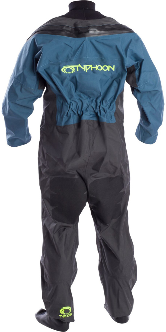 2019 Typhoon Hypercurve 4 Tilbage Zip Drysuit med sokker Teal / Grey 100170